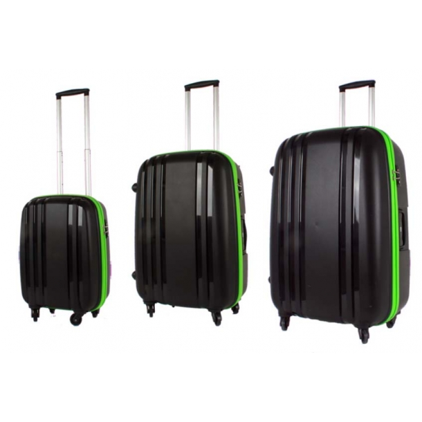Bon Gout model BERGEN 4 hjul spinner sort/neon kuffert