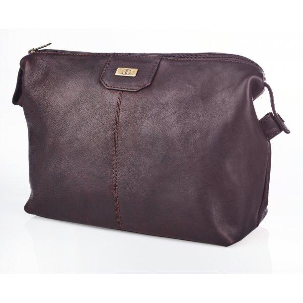 Bon Gout Columbia Brun Toilet taske I eksklusivt læder