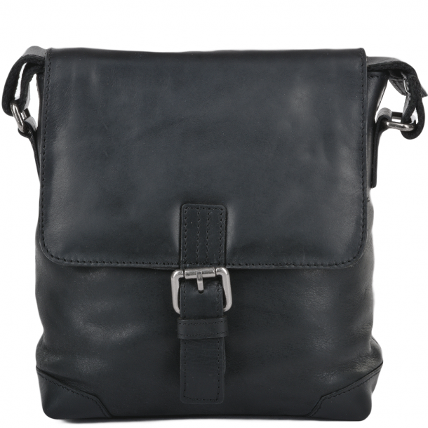 ASHWOOD 3 Pocket Luxury Small Leather Flight Bag- Jack - Black