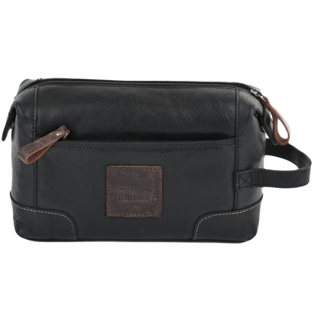 ASHWOOD Leather Wash Bag / Toilet Bag black