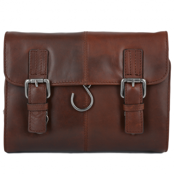 Ashwood Mens Phil Leather Hanging Toilet Bag TAN